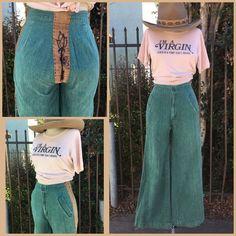 Vintage 70's High Waist Flared Bell Bottom Jeans Size 26 Flower Chain stitch    eBay