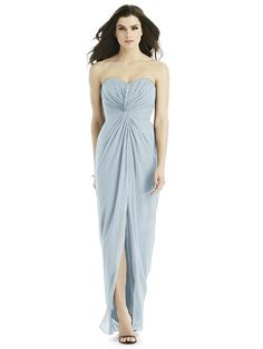 9a6918fc8e33 Style and comfort unite with the elegant twist front draped detail on this  strapless lux chiffon bridesmaid dress. Gathering on the bodice and  full-length ...