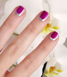...love Maegan: Pink and Silver Chanel Nails Tutorial... but I used neon purple instead Fashion. DIY. Lifestyle.