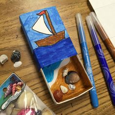 Matchbox Seashell Art. Use my origami template to make these little boxes. Students color and finish them with markers and mini seashells for the perfect finish. #matchboxart #Michaels #stabilomarkers