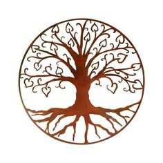 Vintage Look Tree of Life with Hearts Wall Art