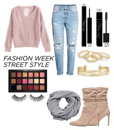 """NYFW: Street Style"" by moriah-fashion ❤ liked on Polyvore featuring Stuart Weitzman, Huda Beauty, MANGO, Christian Dior and Stella & Dot"