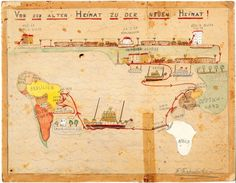 11 year old Fritz Freudenheim made this map as a documentation of his family's escape from Nazi Germany to Montevideo in 1938. Interesting in terms of the way he has taken a wholly positive attitude, from the title: Von der alten Heimat zu der neuen Heimat! ('From the old home to the new home!'), and the playful use of perspective and colour.