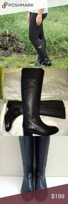 "NWOT Tory burch Joanna black riding boots 7.5 Never worn beautiful authentic boots   Gleaming logo hardware puts the polish on a tall, richly grained leather riding boot cut with an angled, asymmetrical shaft and set on a low block heel. Color: Brown Gold Logo Size: 7, M 1 1/4"" heel approx. 17"" boot shaft; 15"" calf circumference. Side zip closure. Leather upper/leather and textile lining/leather and rubber sole. By Tory Burch; made in Brazil. Tory Burch Shoes Winter & Rain Boots"