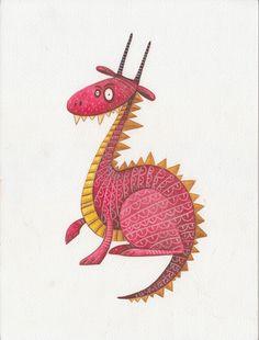 """""""Dragão Magenta"""" - Trabalho realizado pela ilustradora Psonha Camacho, á venda na Galeria Cosmos. galeriacosmos.com"""