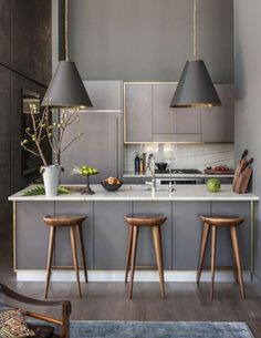 New Kitchen Interior Modern Marble Countertops 18 Ideas Sweet Home, Cuisines Design, New Kitchen, Kitchen Grey, Kitchen Small, Kitchen Modern, Kitchen Island, Gold Kitchen, Kitchen Lamps