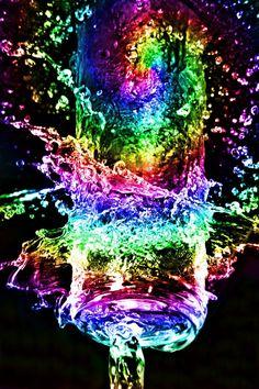 neon rainbow water.