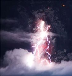 Lightning Bolts at the Iceland Volcano Eyjafjallajökull.
