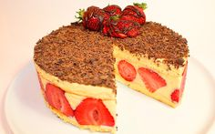 """Cake """"Strawberry miracle"""" has a delicate and rich taste. When there is the first strawberry, everything try to eat it fresh and then you can come up with different recipes of cakes and desserts with her. And it is desirable that the strawberry was less exposed to thermal treatments. Then we get an insanely delicious cake with fragrant strawberries, which will go well with a delicate and tasty cream. This cake is the perfect table decoration for the holiday"""