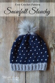 "FREE Crochet Pattern: Crochet Snowfall Slouchy Hat lovely hat with beautiful ""snowfall"" detail that looks like knit! Perfect for wintertime. Bonnet Crochet, Bag Crochet, Crochet Cap, Love Crochet, Crochet Scarves, Crochet Crafts, Crochet Clothes, Crochet Granny, Chunky Crochet"