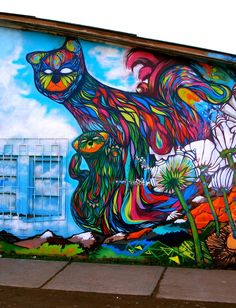 street art het is mooi het lijkt op een dinosaurus of een kat