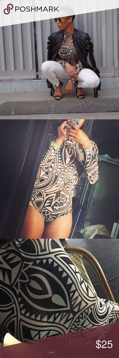 Tattoo Design body suit Skin tight body suit with full zipper in the back. Perfect to wear with high waisted shorts/ skirts or boyfriend jeans. Other