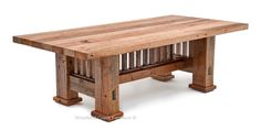 Exposed mortise and tenon joints and simple vertical and horizontal lines are iconic of Mission style furniture design of the late 1800s. Our Barnwood Dining Table Mission Style Base is directly inspired by the movement that was founded to emphasize traditional craftsmanship. For the first time this classic dining table style is coupled with reclaimed