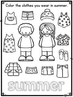 clothes worksheet Seasonal Clothing Worksheets for Pre-K Body Preschool, Preschool Prep, Preschool Learning Activities, About Me Activities, Preschool Worksheets, Preschool Activities, Kids Learning, Seasons Worksheets, Summer Worksheets