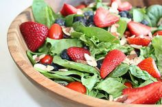 Healthy Recipe: Strawberry Spinach Salad. When the weather gets warmer, cool off with this fresh salad full of sweetness and crisp sensations for your mouth
