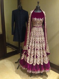 Purple anarkali with gold work