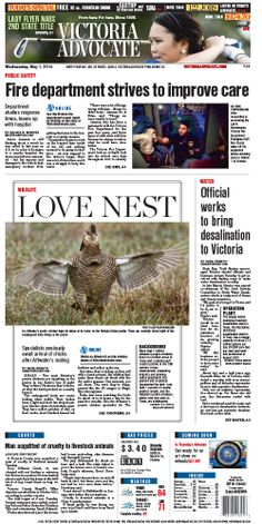 Here is the front page of the Victoria Advocate for Wednesday, May 7, 2014. To subscribe to the award-winning Victoria Advocate, please call 361-574-1200 locally or toll-free at 1-800-365-5779. Or you can pick up a copy at one of the numerous locations around the Crossroads region.