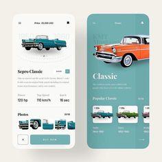 E-Commerce App User Interface Design Concept For Classic Cars Web Design, App Ui Design, User Interface Design, Logo Design, Flat Design, Graphic Design, Parking App, Car App, Mobile Ui Patterns