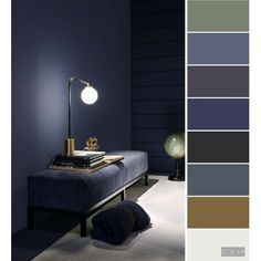 Shades of night Shades of night Modern Color Schemes, Bedroom Color Schemes, Bedroom Colors, Living Colors, Design Apartment, Colour Pallete, Color Shades, Wall Colors, Feng Shui