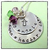 My Angels Custom Memorial Remembrance Jewelry Necklace Christmas Gifts For Grandma, Grandma Gifts, Grandma Necklace, Mom And Grandma, Hand Stamped, Washer Necklace, Swarovski Crystals, Angels, Jewelry Necklaces