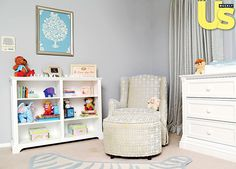 Jenni Pulos mixed patterns in Alianna's custom-designed nursery and added playful touches such as a zebra-print Jonathan Adler rug.