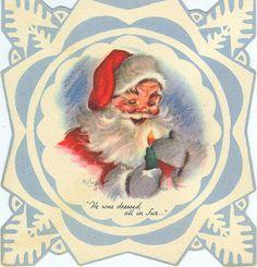 Snowflake Santa ~ M. Father Christmas, Blue Christmas, Retro Christmas, Christmas Paper, Vintage Greeting Cards, Christmas Greeting Cards, Christmas Greetings, Christmas Countdown, Vintage Postcards