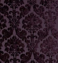 Lucilla Aubergine flocked damask (used as curtain on web-page, could we do fabric panels for color pop and noise deadening?)