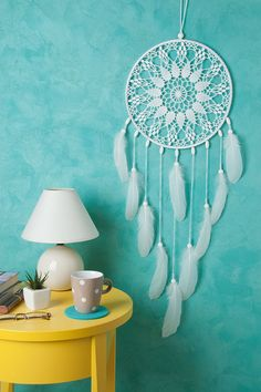 Large White Doily Dream Catcher, Wedding Dreamcatcher, Wedding Decorations, Crochet Doily Dreamcatcher, boho style, wall hanging, wall decor, handmade dreamcatcher, lace dreamcatchers, stylish design. SIZE: - diameter of the hoop:-10- 12 ( 25 - 30 cm ) - height : 30- 34 ( 75- 85 cm)