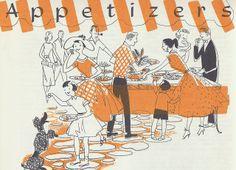A darling orange and black cookbook illustration from 1954 Vintage Illustration Art, Food Illustrations, Vintage Pictures, Vintage Images, Vintage Housewife, Vintage Ads, Vintage Food, Vintage Cooking, Vintage Cookbooks