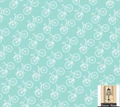 tissu coton bio imprimé graphique alignement de vélos blancs - Fond bleu pastel - Tissu ameublement, déco, accessoires : Tissus Habillement, Déco par cousu-main-mercerie