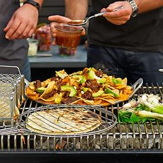 Quesadilla Grill Basket and Grill Tray with Raised Handles - can you say Yummy? Classic Dinnerware, Grill Basket, Grill Accessories, Bbq Tools, Cooking On The Grill, Cooking Tools, Outdoor Cooking, Serving Dishes, Gourmet Recipes