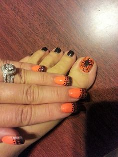 Halloween nails and toes...help, there's a spider on her big toe!