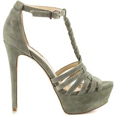 BCBGeneration Women's Vixen - Sage Suede ($109) ❤ liked on Polyvore featuring shoes, heels, green, heels stilettos, sexy high heel shoes, high heel shoes, sage green shoes and high heel platform shoes