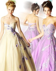 Mac Duggal 2012 Ballgowns - Nude & Purple Chiffon Peacock Embellished Sweetheart Cut Out Prom Gown - 0 - 16