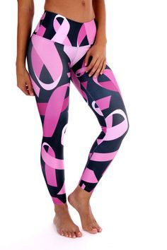 Pink Ribbon Leggings Support Breast Cancer Awareness while you workout! - Wide waist band - Soft, stretchy and amazingly comfortable for WOD workouts, Running, Yoga or Spin - Four Way Stretch Poly Breast Cancer Walk, Breast Cancer Support, Breast Cancer Survivor, Breast Cancer Awareness, Breast Cancer Shirts, Crossfit Clothes, Athletic Clothes, Leggings Mode, Outfits