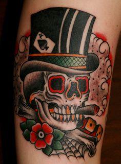 caveira cartola flor old school tattoo