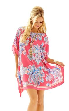 Lindamarie Silk Caftan - Lilly Pulitzer Flamingo Pink Nice Stems Engineered Linda Marie Xs
