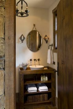 the tiniest of hall bathrooms can still have big style!  Check out the antique shelving turned into a bath vanity