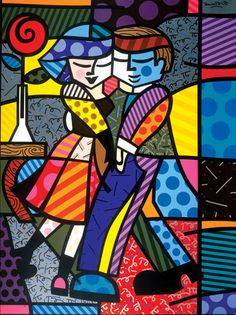 "Romero Britto, ""Cheek To Cheek"" (1999) 72"" x 60"", Acrylic on Canvas"