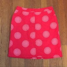 ❗️SALE❗️Red Skirt with Circle Pattern Fun red knee-length skirt with cute white circle pattern! Two pockets and front zipper closure with clasp and button. Gently used with tons of wear left!❗️Sale ends Monday❗️ august silk Skirts