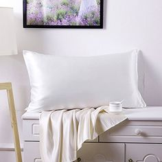 Ready for bedroom decoration photos. Cosfy 100% Pure Silk Pillowcase Exceptional Value Mulberry Silk Front and Back No Cotton or Satin 19mm (White Standard/Queen) 1PC Gift Wrap - http://aluxurybed.com/product/cosfy-100-pure-silk-pillowcase-exceptional-value-mulberry-silk-front-and-back-no-cotton-or-satin-19mm-white-standardqueen-1pc-gift-wrap/
