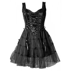 Beautiful gothic dress by Sinister, made from black velvet and several layers of tulle, ornate with satin ribbons and loops.