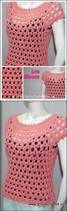 free airy crochet lea blouse