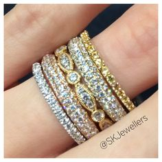 Stacking rings are the hottest look, and the trend isn't going anywhere any time soon! You can mix'n match different colour golds, textures, gemstones, diamonds Diamond Stacking Rings, Bangles, Beaded Bracelets, Different Colors, Gemstones, Jewels, Gold, Jewelery, Bracelets