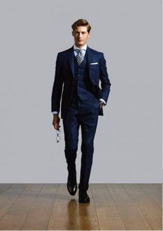 THE way to go. navy 3 piece suit