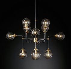 Bistro Globe Clear Glass Chandelier 12-Light
