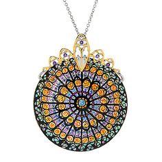 160-694 - Gems en Vogue Paris 50mm Hand-Painted Shell & African Amethyst Landmark Pendant