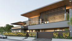 Luxe Residence on Behance Modern Exterior House Designs, Bungalow Exterior, Modern House Design, Exterior Design, Exterior Homes, House Structure Design, Duplex House Design, House Front Design, Compound Wall Design