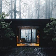 Architecture by Jim Olson Tagged: Exterior and House Building Type. Olson Kundig Houses by Diana Budds. Browse inspirational photos of modern exteriors from houses to cabins, apartments to shipping containers. Cabins In The Woods, House In The Woods, Architecture Design, Architecture Student, Architectural Design Studio, Casas Containers, Design Exterior, Forest House, Forest Cabin