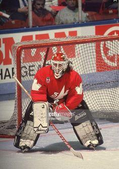 Belfour in The Olympics Hockey Goalie, Hockey Teams, Ice Hockey, Hockey Stuff, Canada Cup, Eddie The Eagle, Goalie Mask, Nfl Fans, National Hockey League